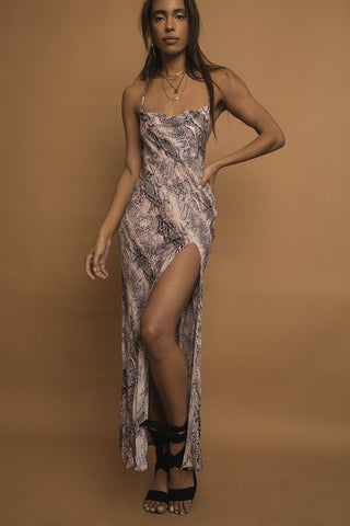 Divine Snakeskin Open Back Maxi Dress