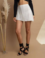 Ivory Wrap Mini Skirt
