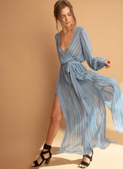 Blue Striped Chiffon Maxi Long Wrap Dress