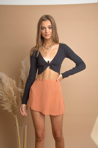 Terra Cotte Wrap Mini Skirt