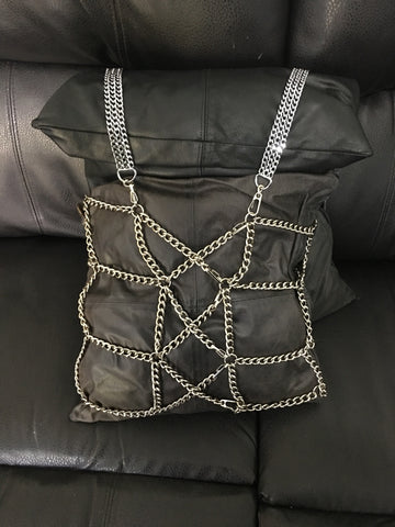Stainless Steel Body Harness with Corset inspired back.