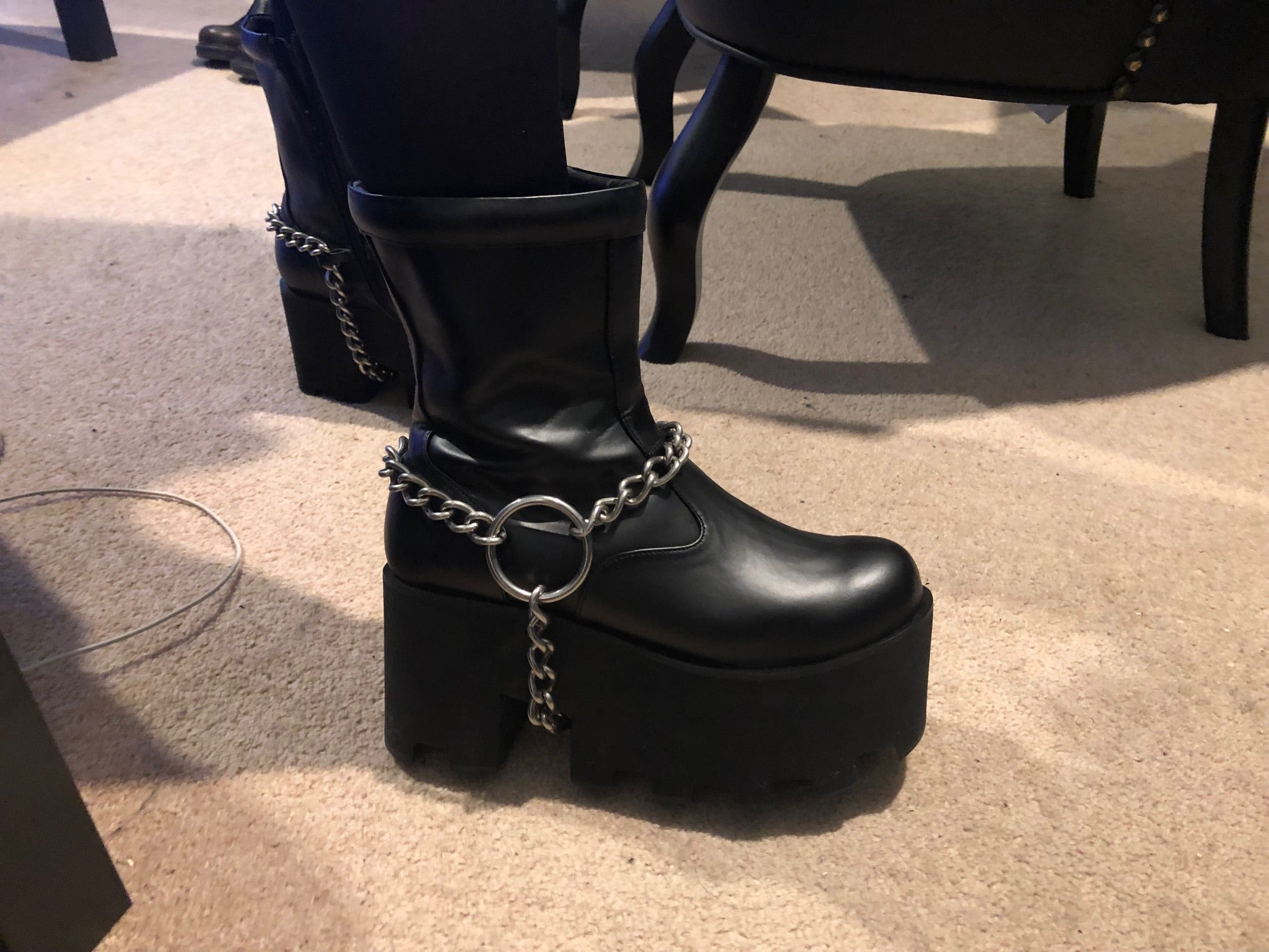 Stainless Steel Boot Chain show on boots