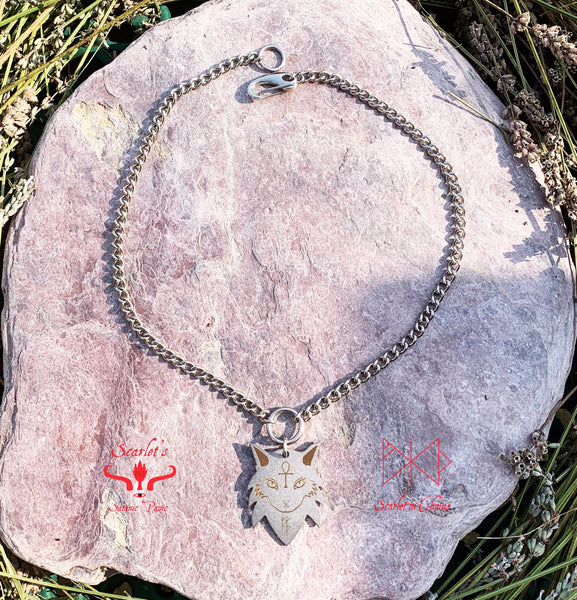 316 Stainless Steel Maine Coon Cat Necklace Laser Cut, Laser Etched and had finished custom made to size shown flat