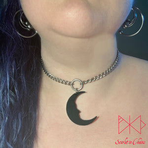Moon with face necklace on 304 Stainless Steel Chain shown warn