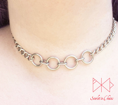 Stainless Steel Line of Fate chain choker with 4 stainless steel O rings shown warn with new links