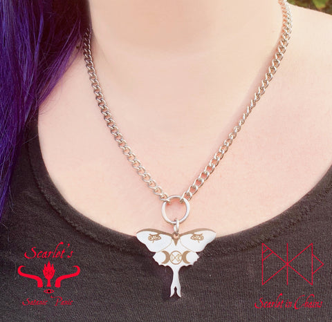316 Stainless Steel Luna Moth Necklace Laser Cut, Laser Etched and had finished custom made to size shown close