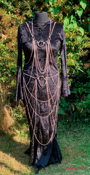 Vampiress Stainless Steel Chain Harness and Skirt showing front view