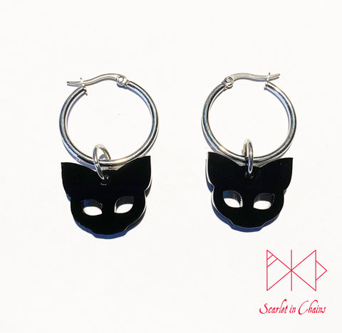 316L Stainless steel Witches Cat Hoop earrings - Black cat earrings - Goth Earrings - occult jewellery - Witchy earrings Shown on white background