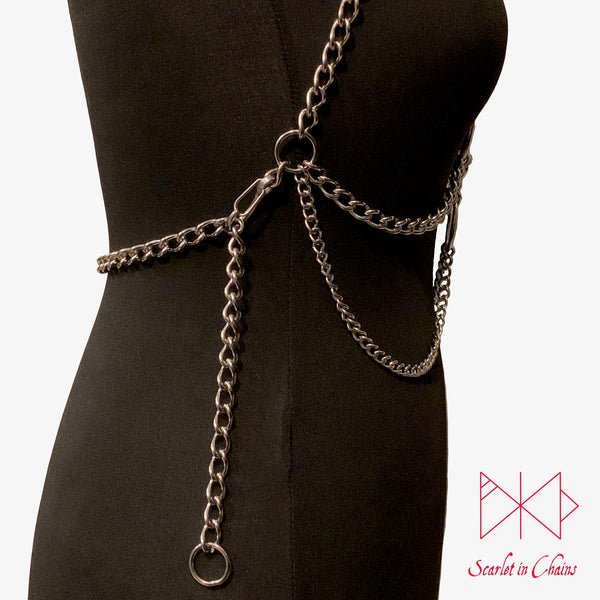 Stainless Steel Artemis body harness made from 304 Stainless Steel with 316 Stainless Steel Rings Shown Side view