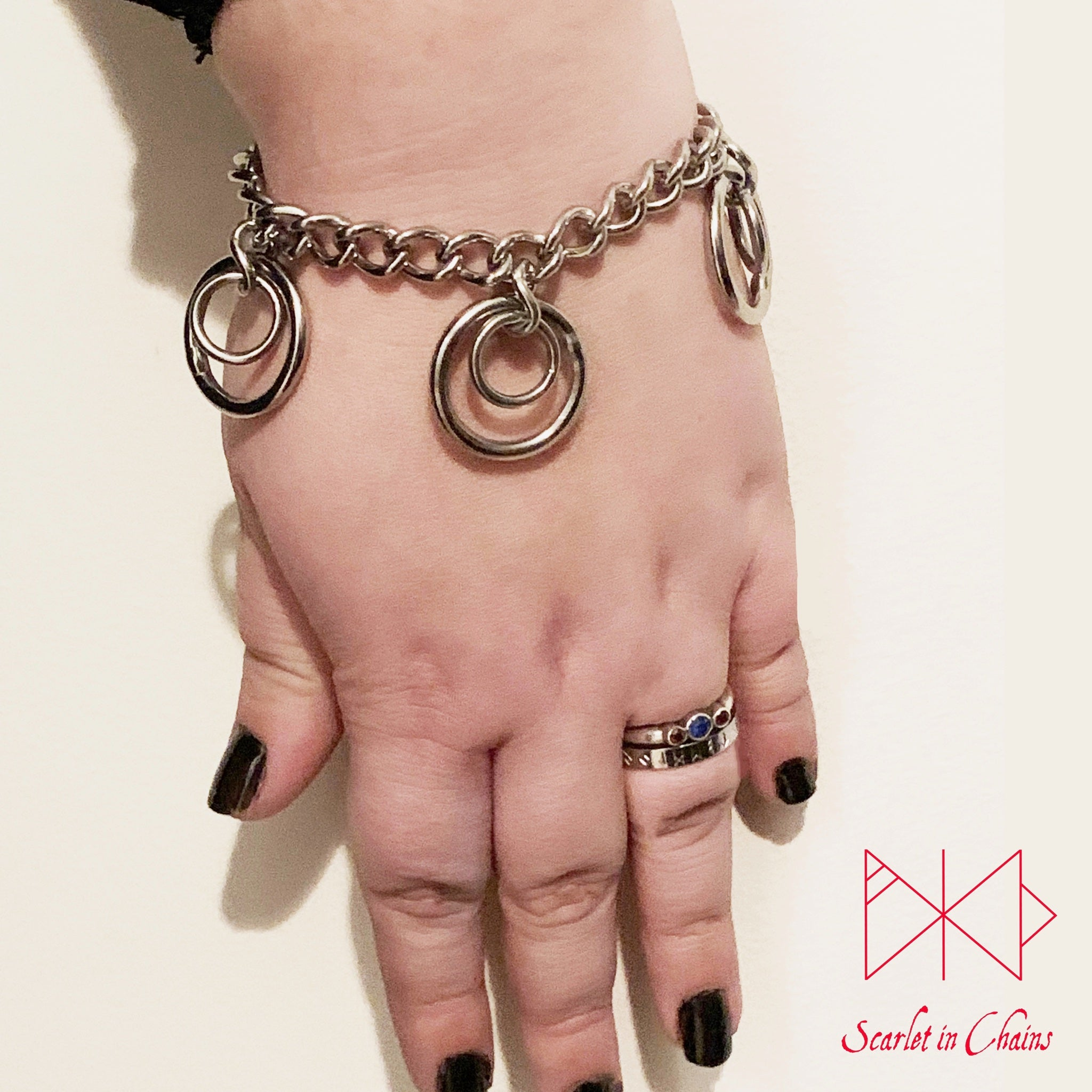 Valkyrie Eclipse Mini Bracelet cuff, shown worn, made from 304 Stainless Steel chain and O rings