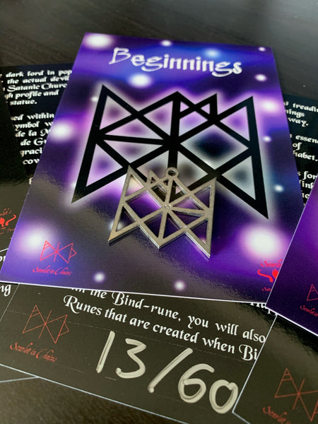 316 Stainless Steel Bind Rune Necklace Laser Cut, Laser Etched and had finished custom made to size shown with art card