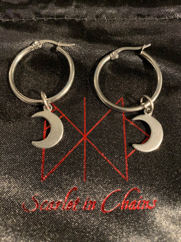 316L Stainless Steel  crescent Moon Earrings