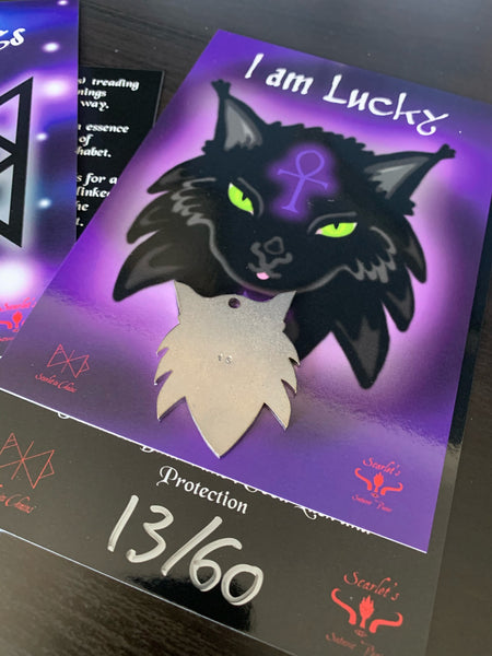 316 Stainless Steel Maine Coon Cat Necklace Laser Cut, Laser Etched and had finished custom made to size shown with art card