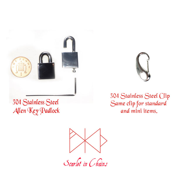 Scarlet in chains closure chart Flat shot of stainless steel padlock and open stainless steel padlock with allen key, penny for size reference. Also show is a stainless steel clip