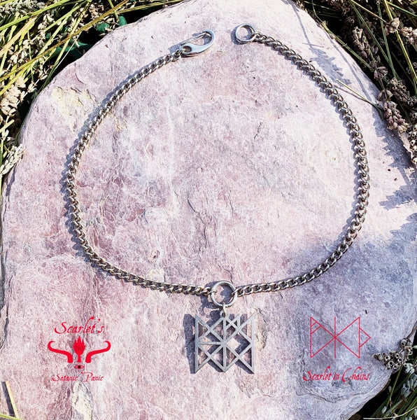 316 Stainless Steel Bind Rune Necklace Laser Cut, Laser Etched and had finished custom made to size shown flat