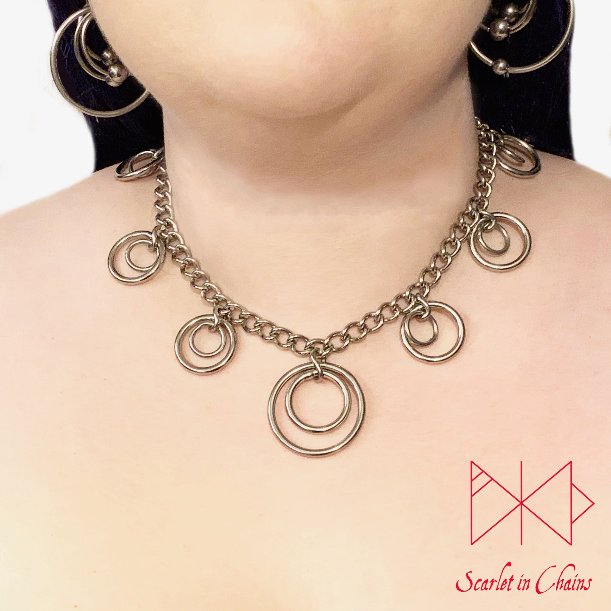 Valkyrie Eclipse Mini Collar shown worn. made from 304 Stainless Steel