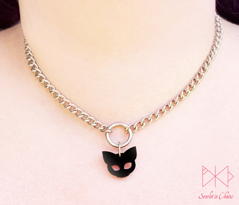 Stainless Steel Witches Cat Choker - Black cat necklace - Cat jewellery - Witches cat necklace Shown warn