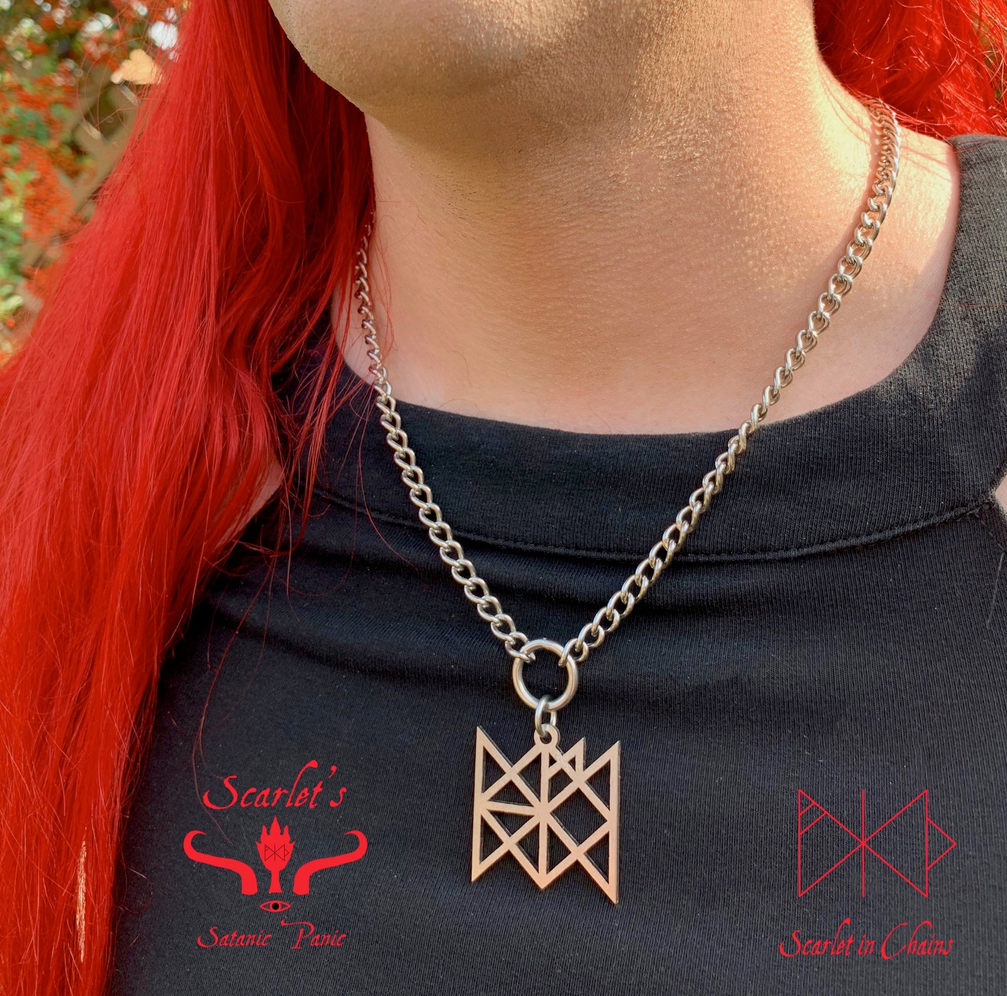 316 Stainless Steel Bind Rune Necklace Laser Cut, Laser Etched and had finished custom made to size shown close