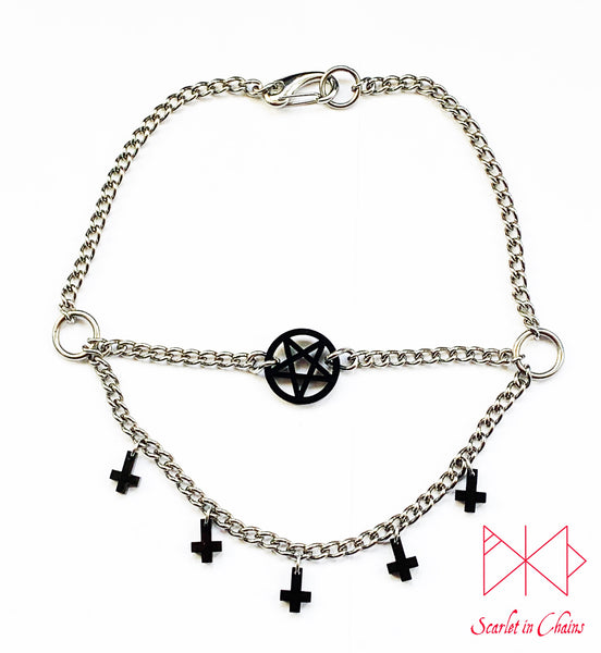 Dark Mistress Layered choker - Occult choker - Inverted cross necklace - Inverted Pentagram choker - Witch necklace - Satanic Jewellery shown flat