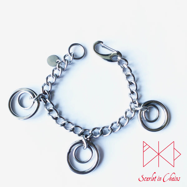 Valkyrie Eclipse Mini Bracelet cuff, shown flat, made from 304 Stainless Steel chain and o rings