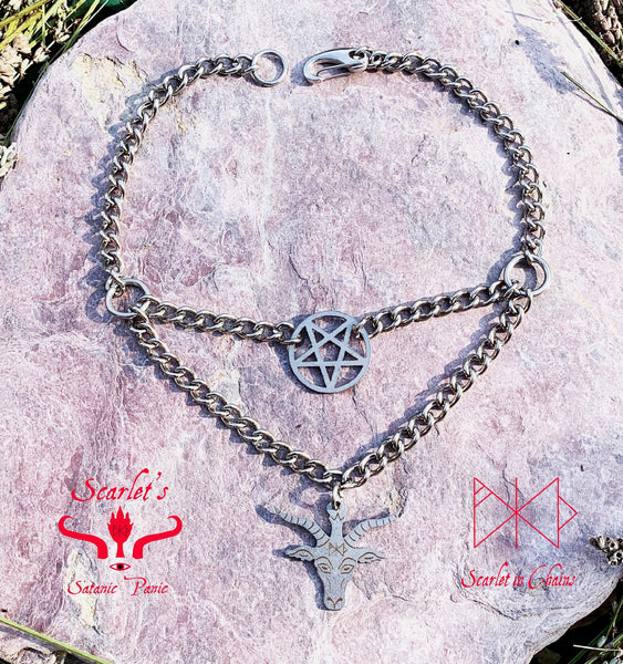 flat shot of double layer stainless steel baphomet necklace finished with stainless steel clip