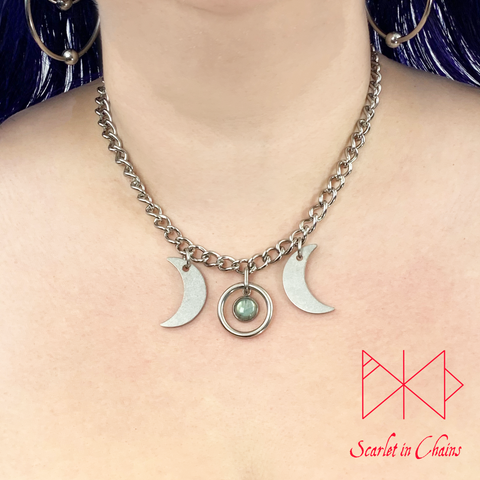 Stainless Steel Mini crystal Goddess - Subtle day collar - Goddess choker - Goddess necklace - Goth necklace - Pagan triple moon goddess Shown Warn