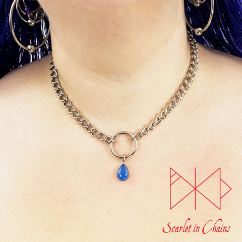 Stainless Steel Crystal Spirit Luna day collar - O ring choker - BDSM day collar - Subtle day collar - Blue Chalcedony necklace - Goth  worn shot
