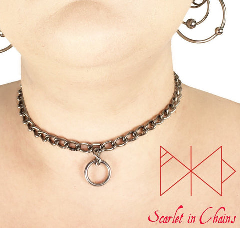 Stainless Steel chain with single O ring pendant Rockstar mini collar worn