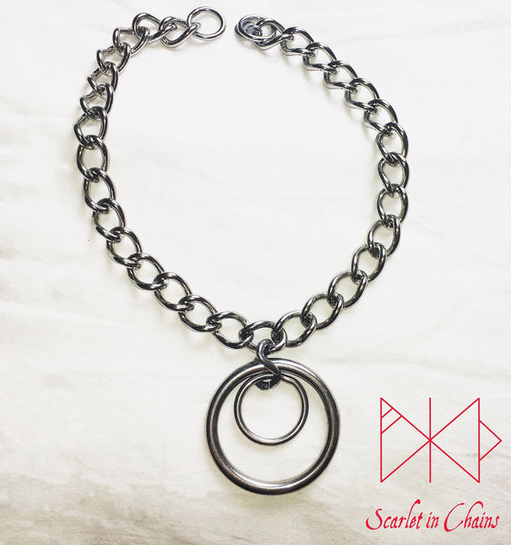 flat shot Eclipse Collar, 3mm chain collar with large 40mm O ring with a 20mm smaller O ring inside it