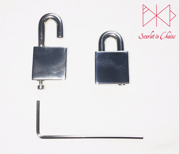 example of stainless steel padlock open with allen key and screw and example of it closed