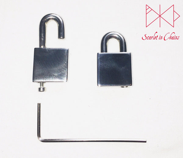 close up of opening of stainless steel padlock