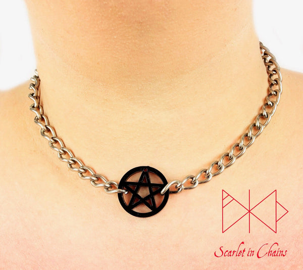 worn shot of Black mini pentagram choker