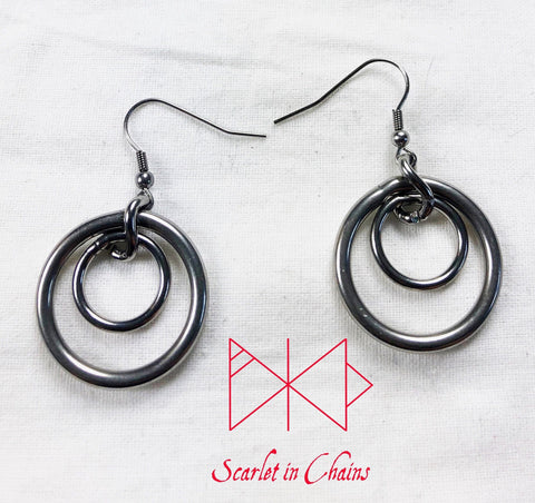 316L stainless steel earring hooks, with 20mm stainless  O ring with an 8 mm o ring inside ithem