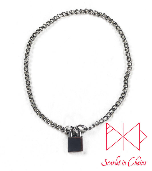 stainless steel chain choker with stainless steel padlock flat shot