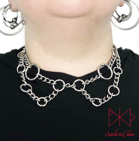 Witchy choker worn, stainless steel choker done in a lace collar style