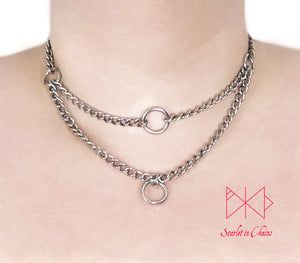 Stainless steel micro chain multi layer choker, tope layer is an O ring choker with a O ring pendant for the second layer.
