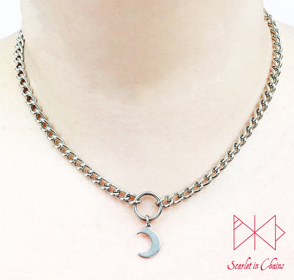 stainless steel micro chain O ring choker with stainless steel crescent moon charm worn