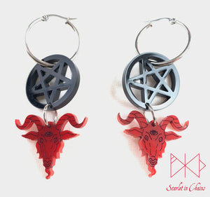 316L Stainless steel 25mm hoop earrings. with black inverted pentagram charm and red Baphomet charm with hand finished black facial details.