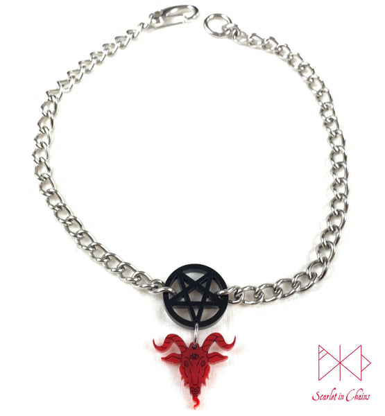 Full flat shot of baphomet choker