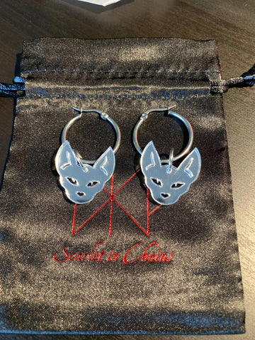 Sphynx Hoop Earrings on 316 Stainless Steel Hoops