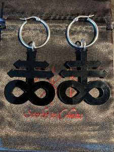 Leviathan Cross Hoop earrings on 316L Stainless Steel Hoops