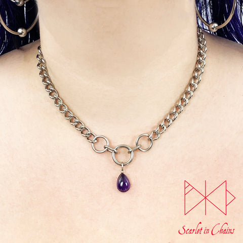 Stainless Steel Crystal princess day collar - cute collar - BDSM day collar - Subtle day collar - Amethyst necklace - Goth - BDSM Pet Play worn shot