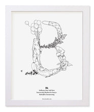 "Load image into Gallery viewer, Letter B 8""x10"" Print, White Wooden Frame  ($40)"