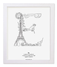 "Load image into Gallery viewer, Letter E 8""x10"" Print, White Wooden Frame  ($40)"