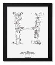 "Load image into Gallery viewer, Letter H 8""x10"" Print, Black Wooden Frame  ($40)"