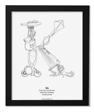 "Load image into Gallery viewer, Letter K 8""x10"" Print, Black Wooden Frame  ($40)"