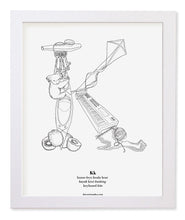 "Load image into Gallery viewer, Letter K 8""x10"" Print, White Wooden Frame  ($40)"