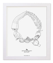 "Load image into Gallery viewer, Letter Q 8""x10"" Print, White Wooden Frame  ($40)"