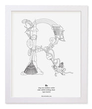 "Load image into Gallery viewer, Letter R 8""x10"" Print, White Wooden Frame  ($40)"