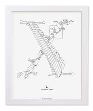 "Load image into Gallery viewer, Letter X 8""x10"" Print, White Wooden Frame  ($40)"